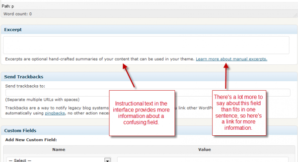 Moving text into the interface -- how WordPress handles confusing fields