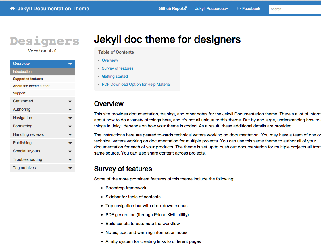 Jekyll documentation theme
