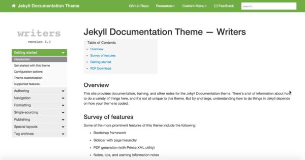 Documentation theme screenshot