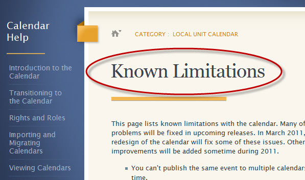 My Known Limitations page