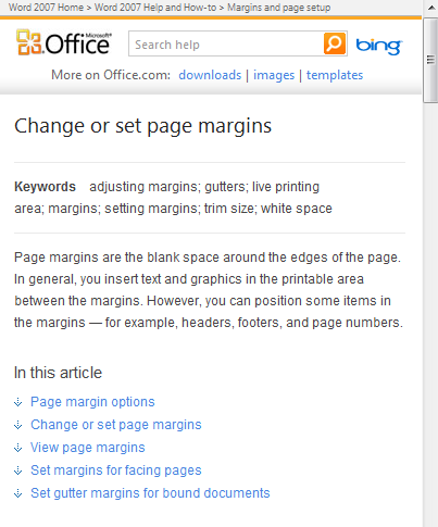This topic on working with margins really contains five separate topics.