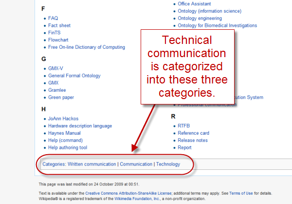 Larger categories that Technical communication is grouped under