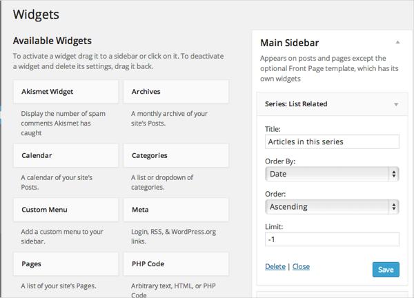 List Series widget from Series plugin