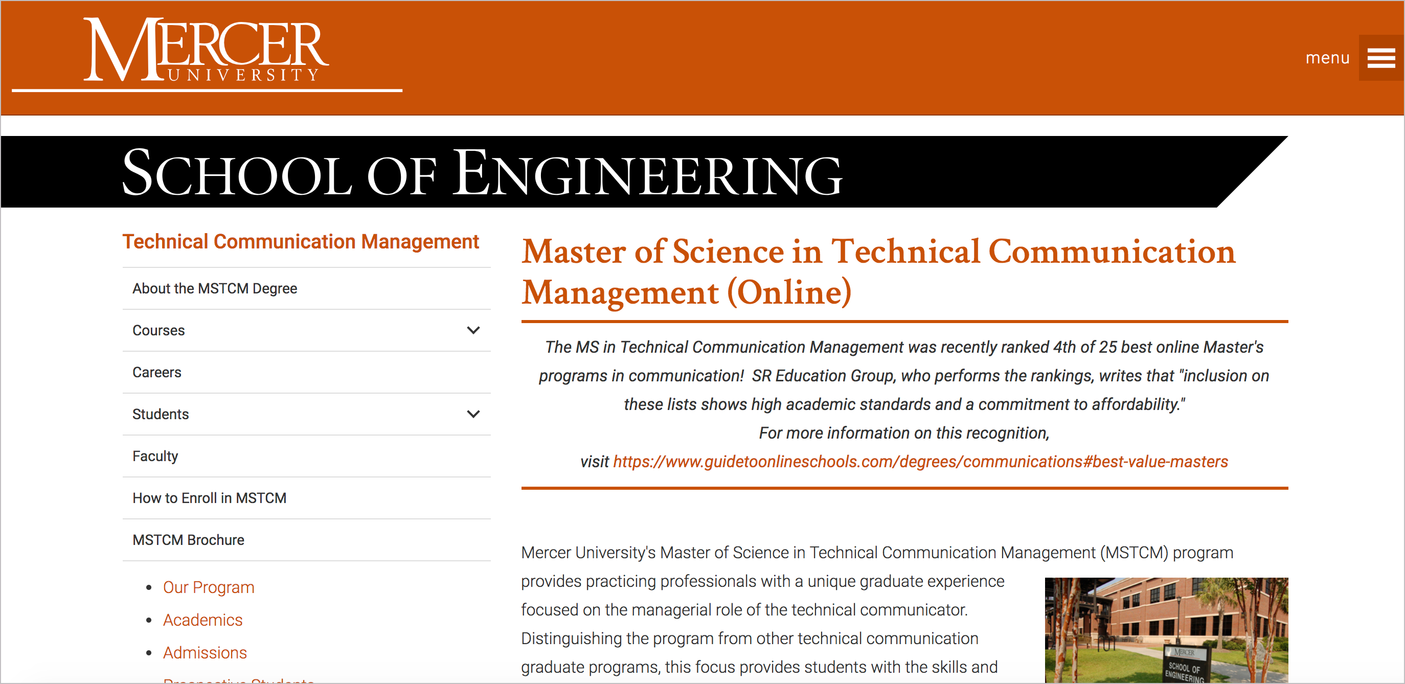 Masters in technical writing at Mercer