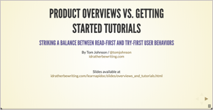 Product overviews vs. getting started tutorials — striking a balance between read-first and try-first user behaviors