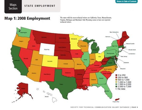 Where the technical writing jobs are in the U.S.