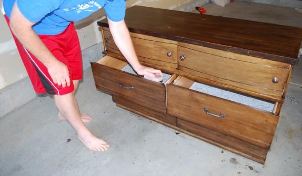 Sanding a dresser