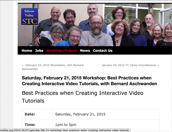 STC Silicon Valley video tutorial workshop