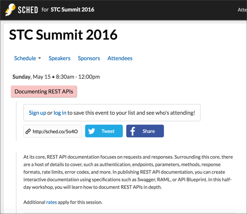 STC Summit API documentation workshop