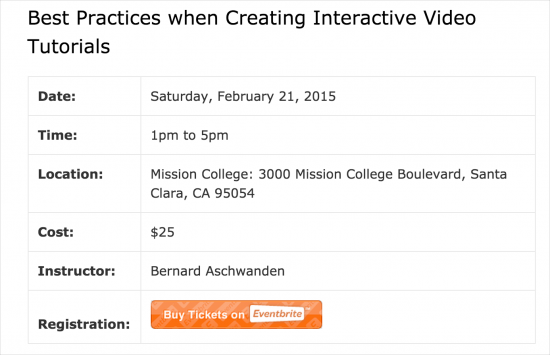 workshop on creating interactive video tutorials