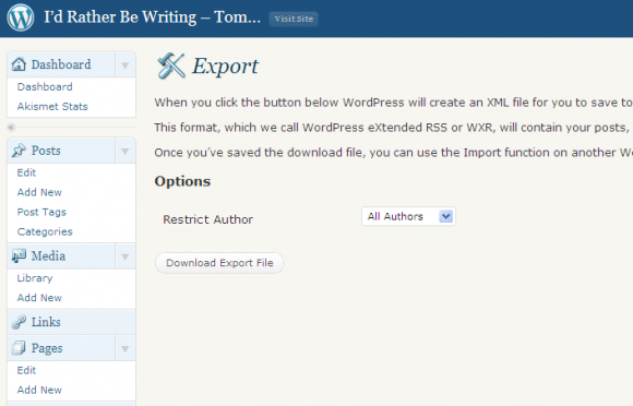 Go to Tools > Export to export your posts, pages, and comments in an XML file