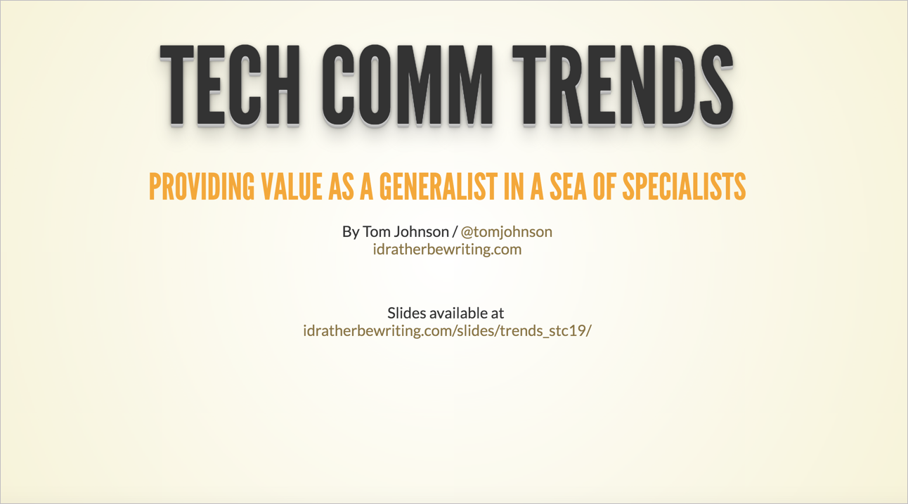 Tech Comm Trends slides