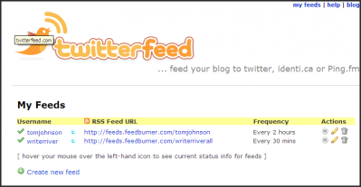 Twitterfeed allows you to push your RSS feed across Twitter