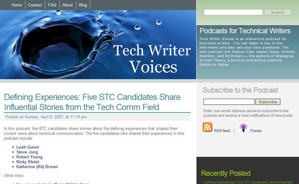 Tech Writer Voices site