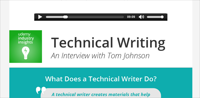 Udemy podcast and infographic on technical writing