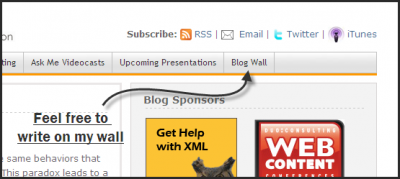 Blog Wall, a new feature on the site