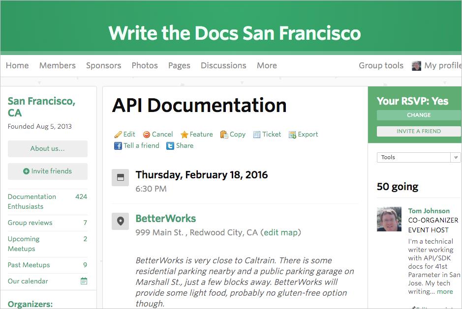 Write the Docs meetup on API documentation