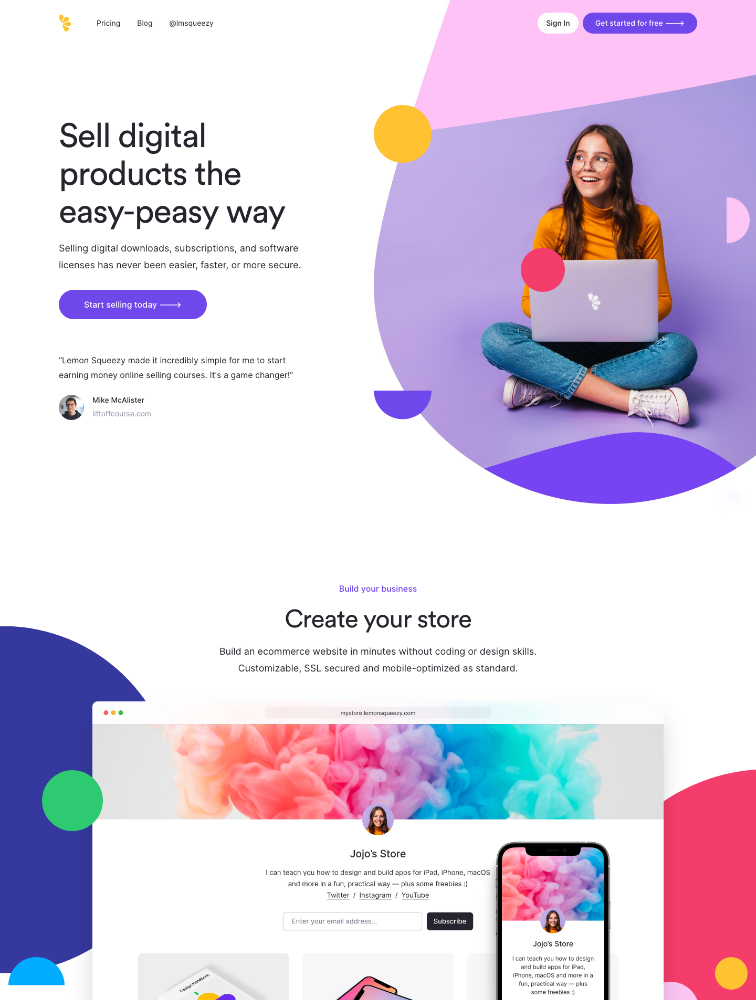 Lemon Squeezy Landing Page Example