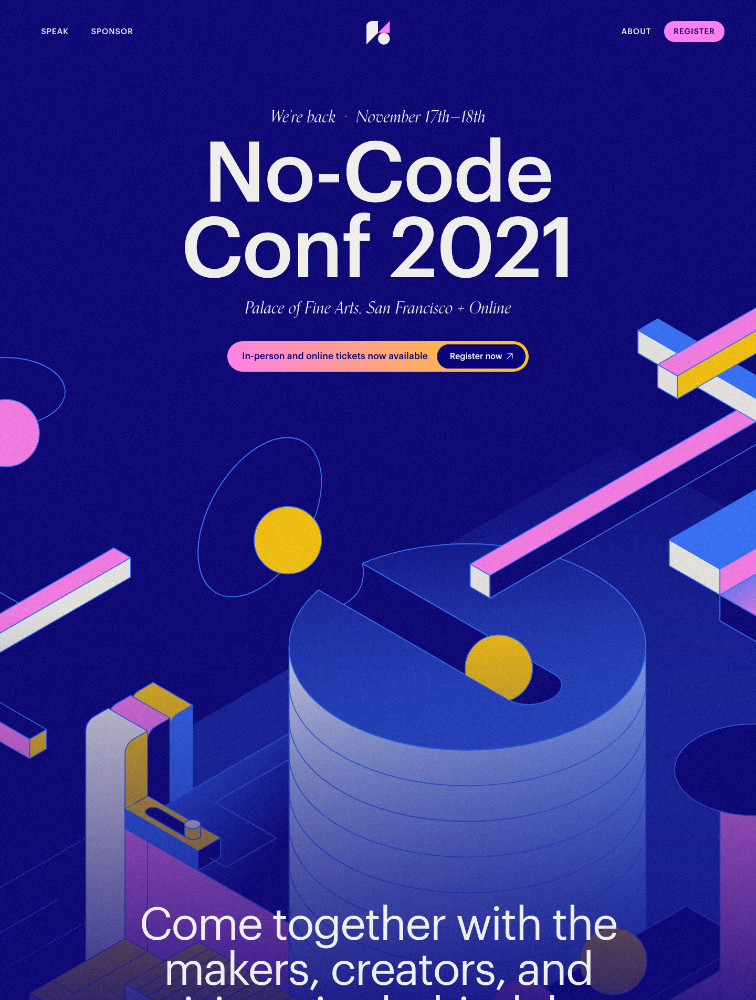 No-Code Conference 2021 Landing Page Example