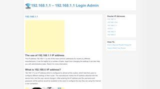 192.168.1.1 Login Admin