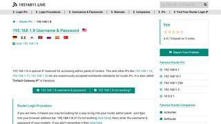 192.168.1.8 Username & Password - 19216811.live