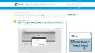 How to log-in in http://192.168.1.1/html/home.h... | Globe Community