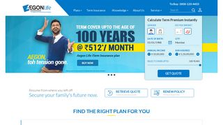Aegon Life Insurance - Get A Term Cover For Up To 100 Years