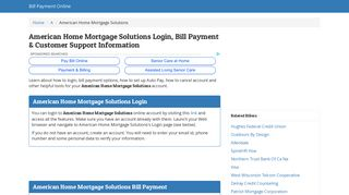 American Home Mortgage Solutions Login, Bill Payment & Customer ...