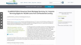 CLARIFICATION of American Home Mortgage Servicing, Inc. Acquires ...