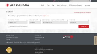 Sign on to the Air Canada travel agency website