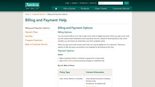 Billing and Payment Options - Amica