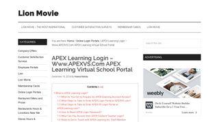 APEX Learning Login – Www.APEXVS.Com APEX Learning Virtual ...