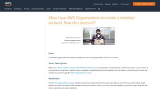 Access a Member Account Created With AWS Organizations