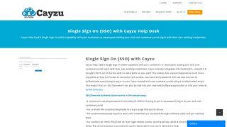 Cayzu Help Desk's Single Sign On (SSO) capability