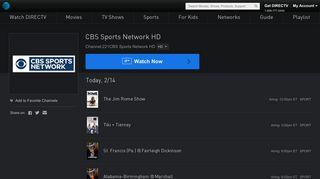 CBS Sports Network HD Live Stream | Watch Shows Online | DIRECTV