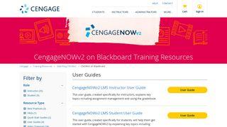 CNOWv2 on Blackboard - Training Resources - Cengage