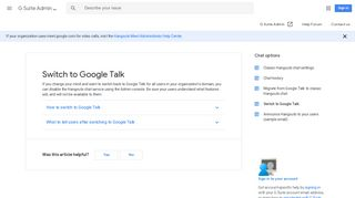 Switch to Google Talk - G Suite Admin Help - Google Support
