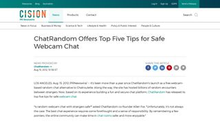ChatRandom Offers Top Five Tips for Safe Webcam Chat - PR Newswire