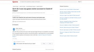 How to sync my game center account to Clash Of Clans - Quora