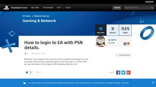 How to login to EA with PSN details. - PlayStation Forum