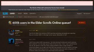 600k users in the Elder Scrolls Online queue? - World of Warcraft ...