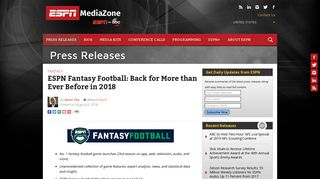 ESPN Fantasy Football: Back for More than Ever Before in 2018 ...