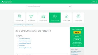 Your Email, Username, and Password - SurveyMonkey Help Center
