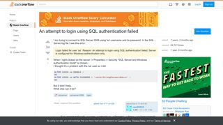 An attempt to login using SQL authentication failed - Stack Overflow