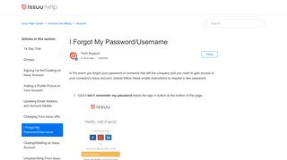 I Forgot My Password/Username – issuu Help Center