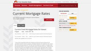 Current Mortgage Rates - First Hawaiian Bank