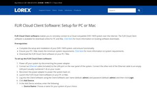 FLIR Cloud Client Software: Setup for PC or Mac - Lorex Support ...