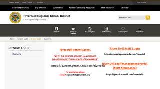 Genesis Login / Overview - River Dell Regional School District