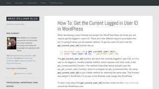 How To: Get the Current Logged in User ID in WordPress - Brad ...