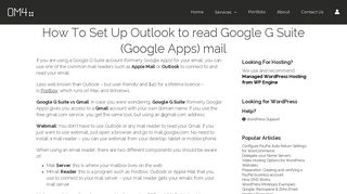 How To Set Up Outlook to read Google G Suite (Google Apps) mail ...